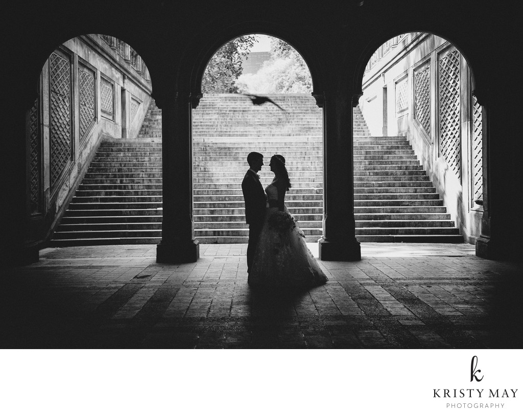 Wedding Couple Silhouetted Portrait Bethesda Terrace