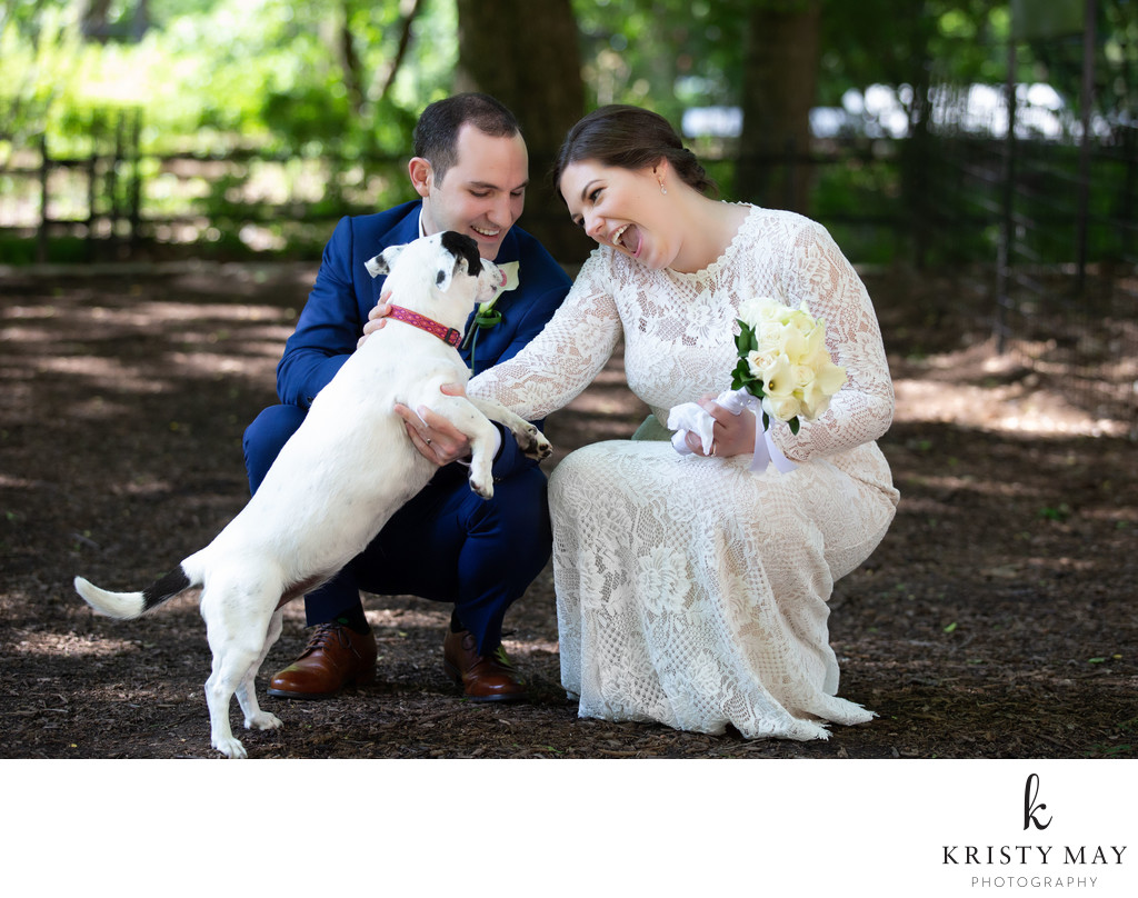 Wedding couple with their dog in Central Park