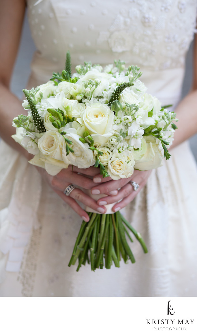 Classic White Wedding Bouquet with Green Accents