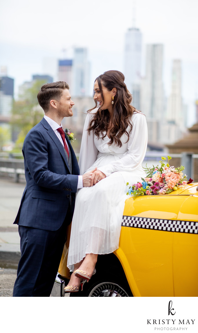 Vintage Taxi Elopement Brooklyn