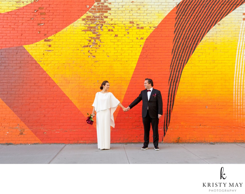 Chic Wedding Couple with Brooklyn Mural