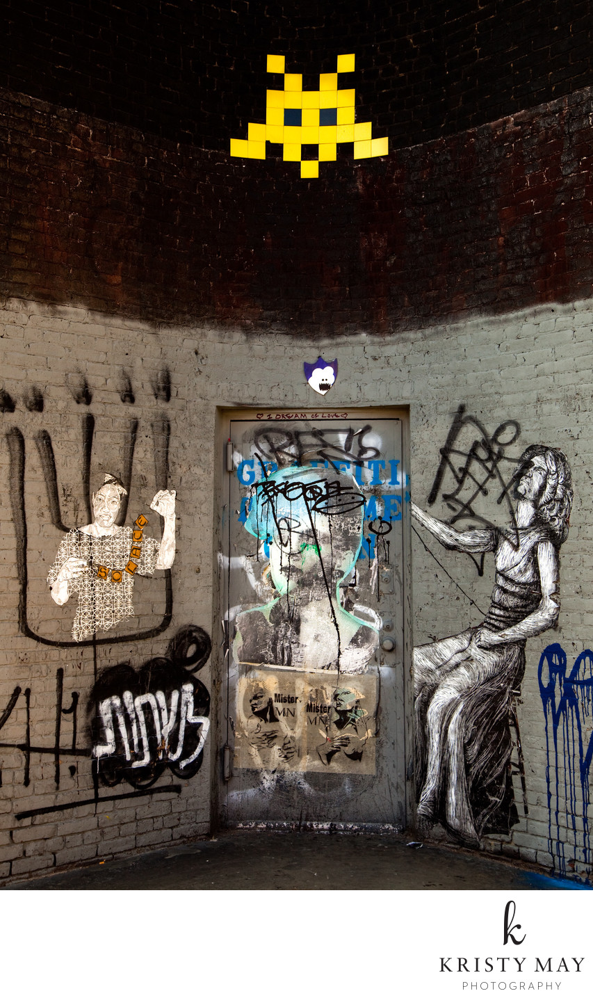 80 Wythe Ave Door with Street Art, Space Invader, 2009