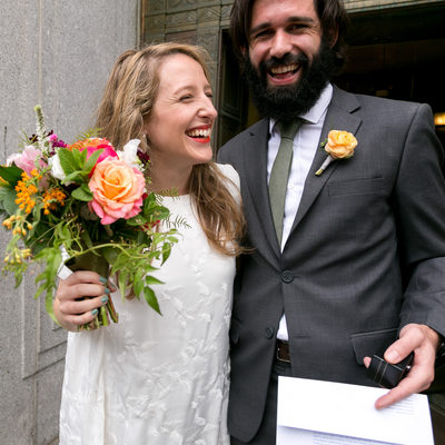 Bride and Groom exit the New York City Marriage Bureau