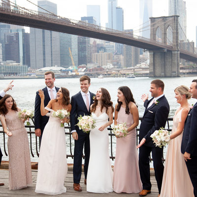 Brooklyn Bridge Waterfront Wedding Party