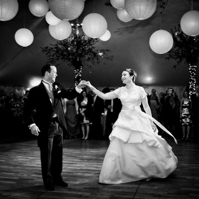 First dance at a tented luxury wedding on Long Island.