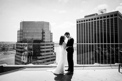 Wedding portrait NYC Andaz rooftop bride and groom