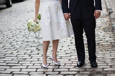 Wedding Couple on Cobblestone Street in West Village