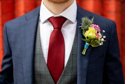 Groom with Colorful Boutonniere