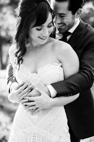 Romantic Black and White Central Park Wedding Couple