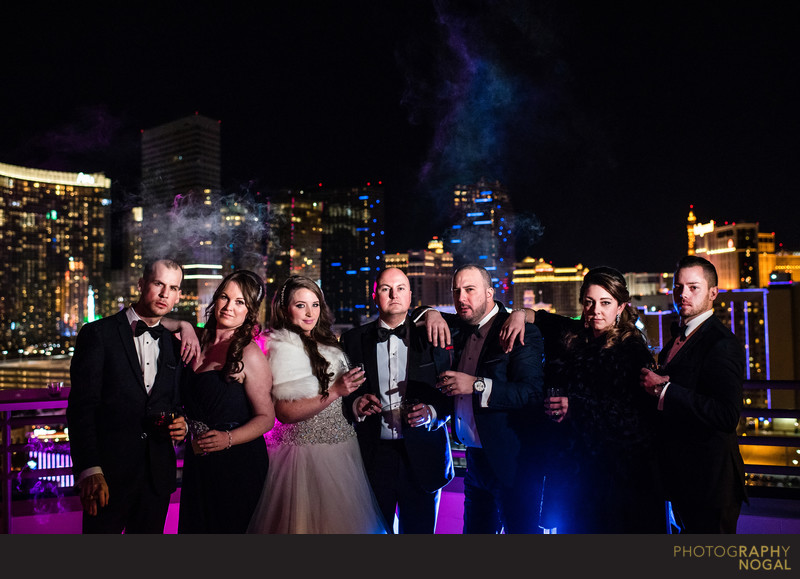Wedding party at MGM Grand Suites Private Patio