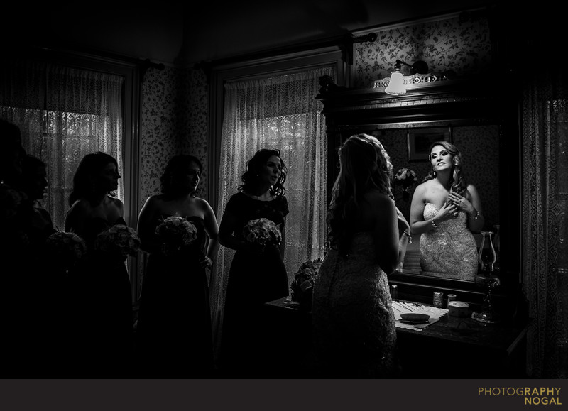 Bride Looking in the Mirror at Benares Historic House