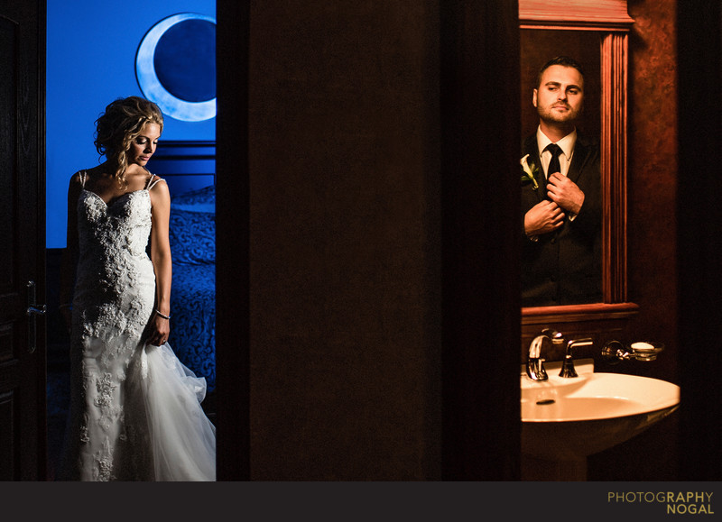Bride and Groom Getting Ready in Separate Rooms