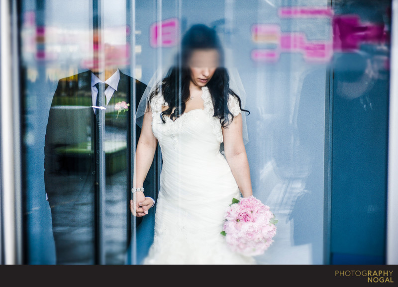 Bride and Groom Abstract at Aloft Vaughan Mills Hotel
