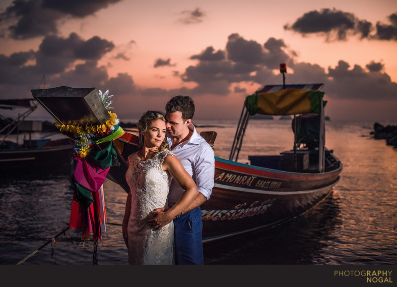 Couple With Long Tail Boat at Wedding In Thailand