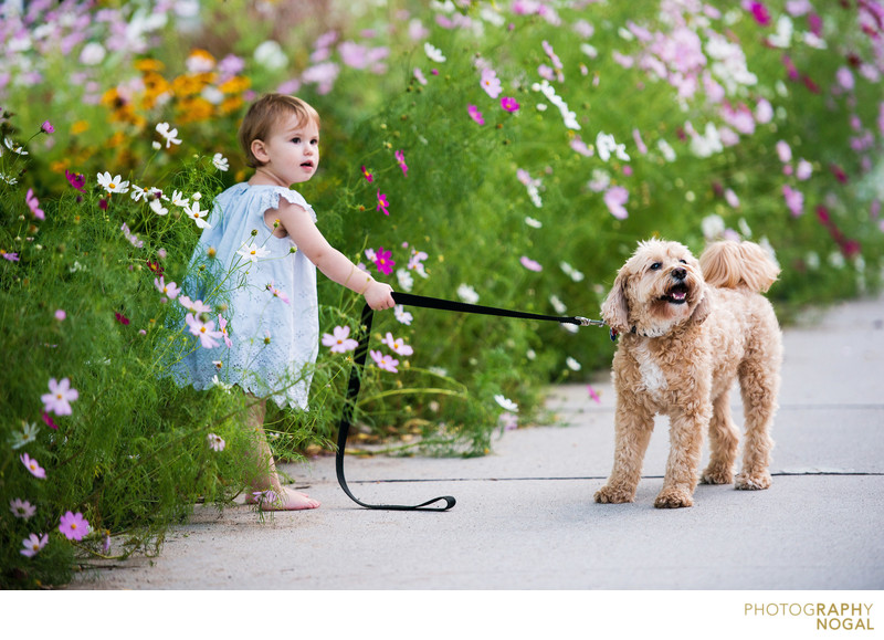 girl holding dog on leash in a flower garden
