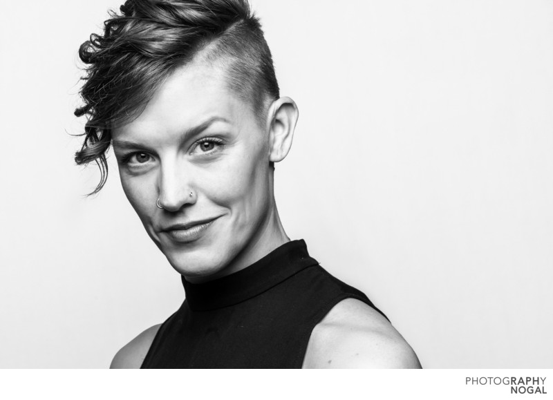 short hair Toronto dancer headshot in black and white