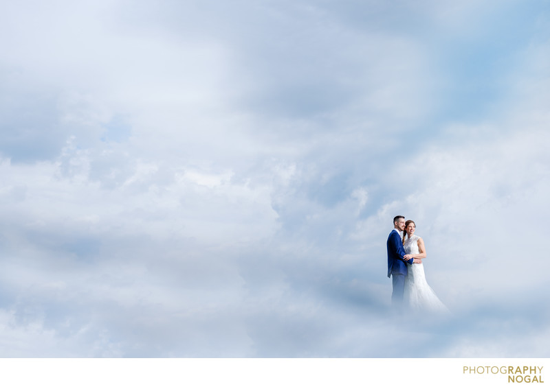 Bride and Groom in the clouds