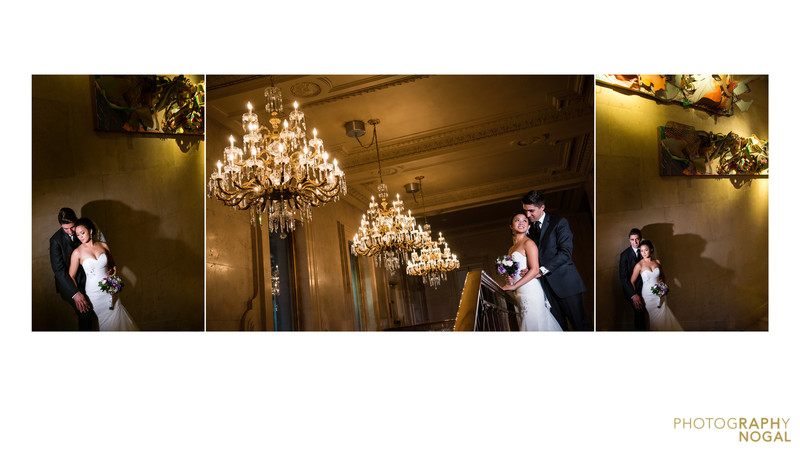 One King West lobby wedding bride and groom portraits