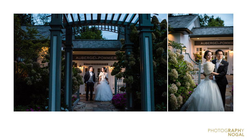 Bride and Groom At Front Door of Auberge du Pommier