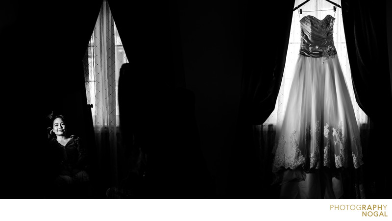 Black and White Photo of Bride and Her Wedding Dress