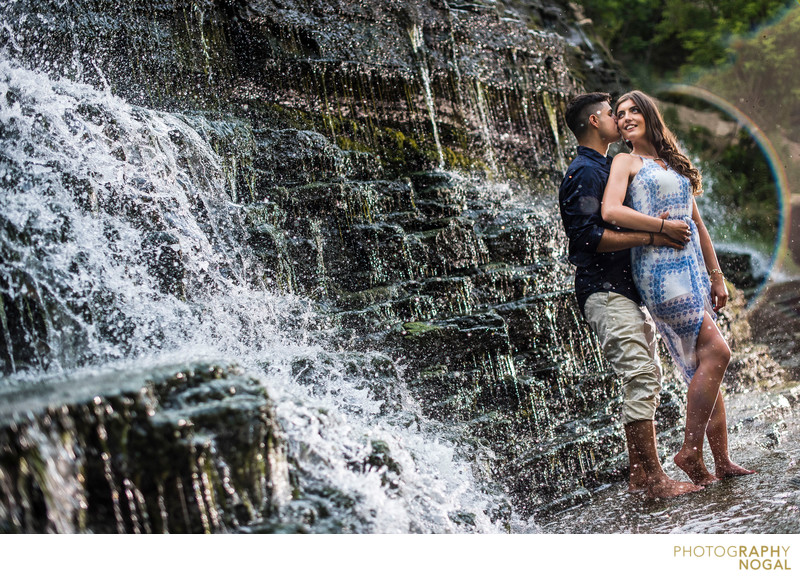 Toronto Engagement couple Albion Falls