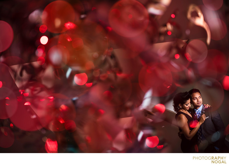 Photograph shot through a light fixture with a red gel.