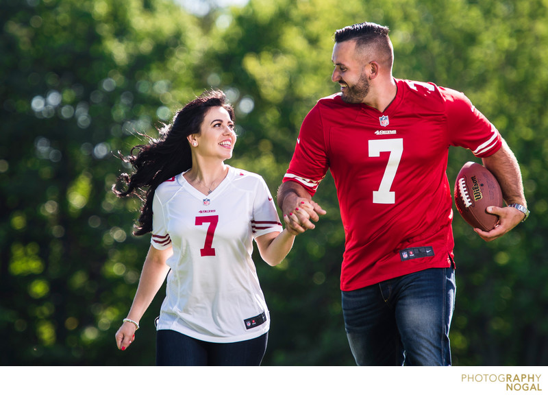 Football Themed Engagement Photos
