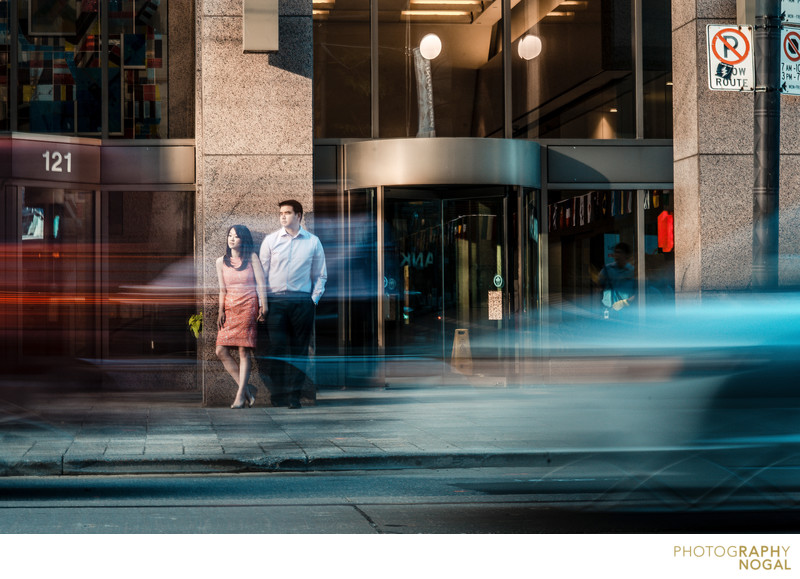 Downtown Toronto engagement session amongst traffic
