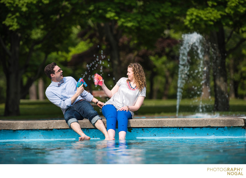 Toronto couple uses bubble guns to have some fun