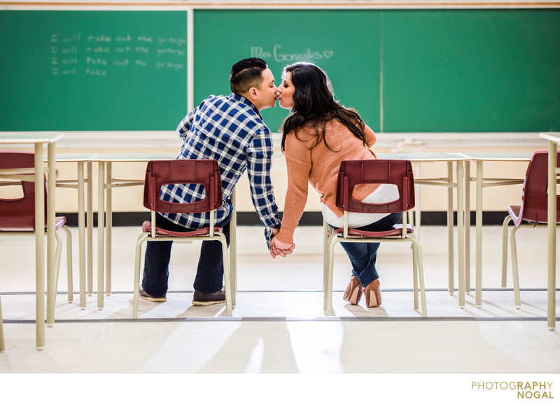 Couple Kissing in Classroom in their old Highschool