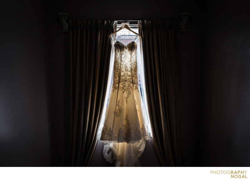 Dress Hanging on Windows in the Staircase