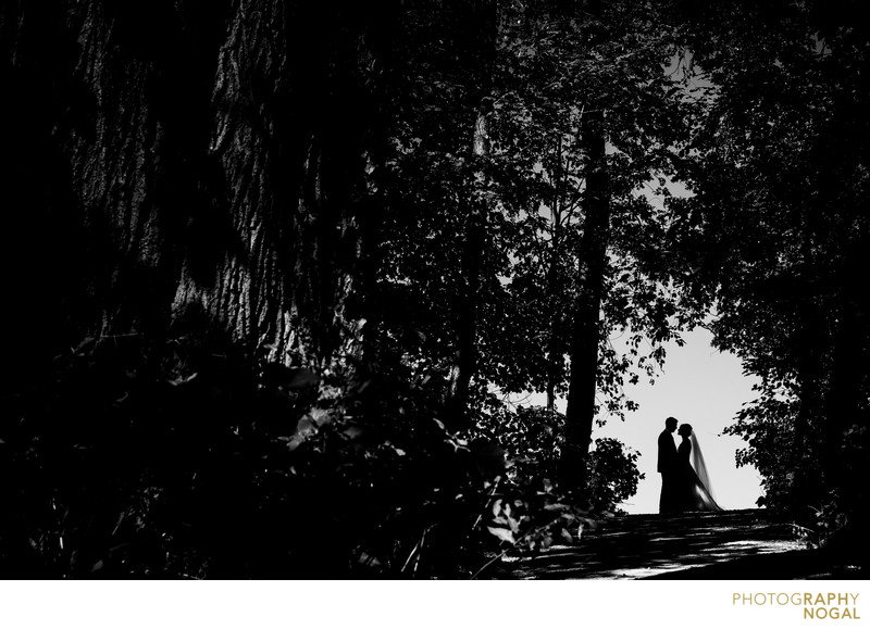 Bride and Groom Silhouette at Geraldo's at Lasalle Park