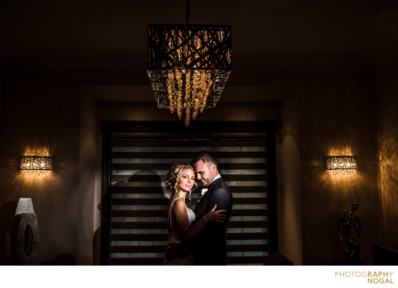 Bride and Groom in the Livingroom with Dramatic Light
