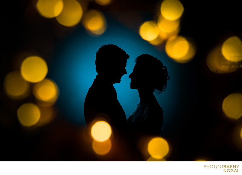 Bride and Groom Silhouette with Bokeh Balls