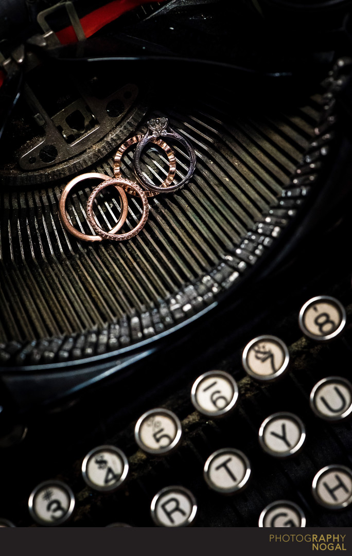 Wedding Bands on Vintage Typewriter