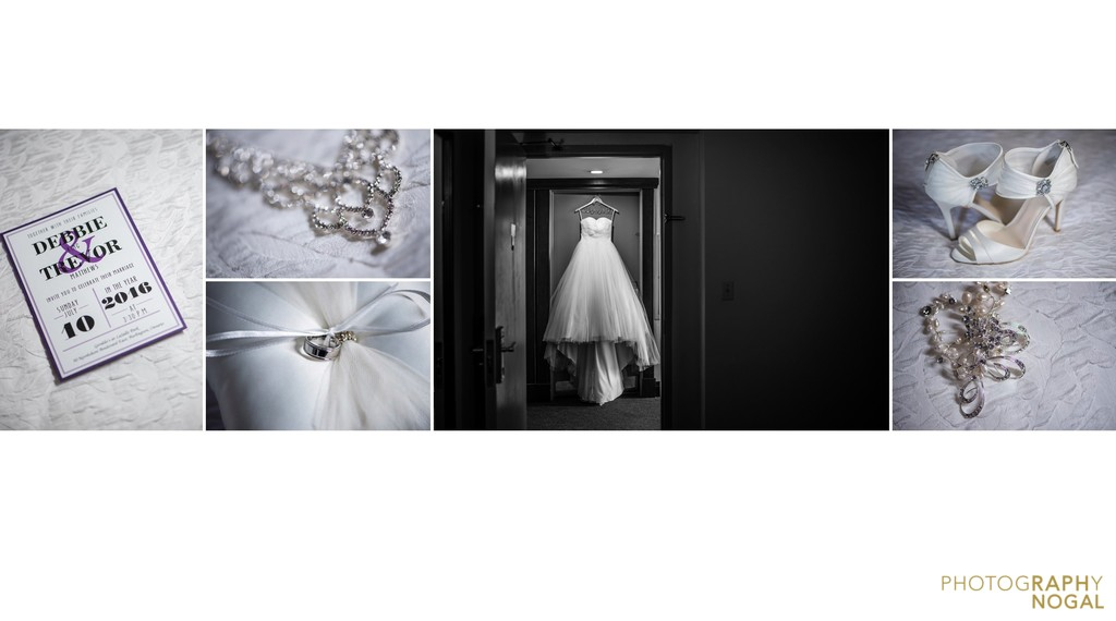 Wedding Album layout of bride's accessories, elegant white
