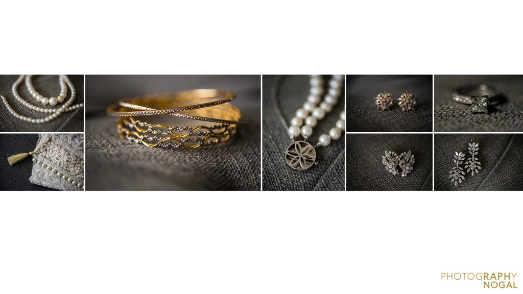 Wedding album Gold and grey details accessories
