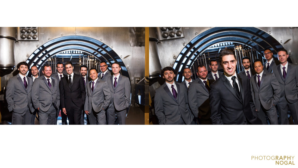 One King West bank vault groom and groomsmen spread