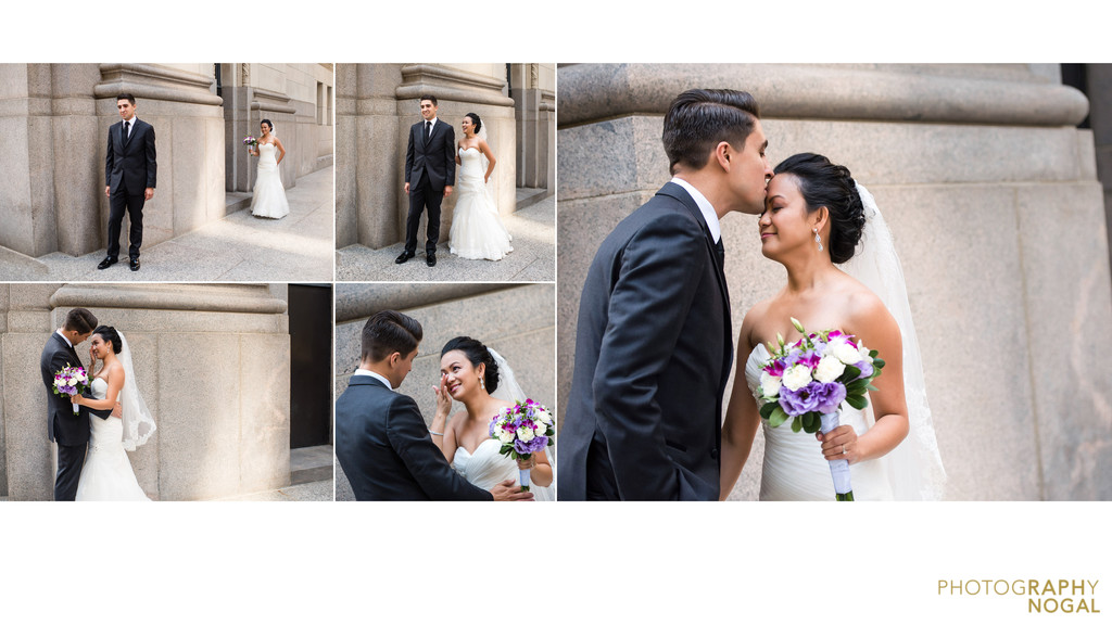 Wedding couple portraits outside One King West Hotel