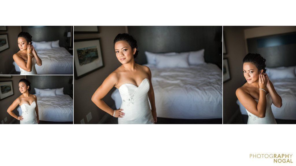 One King West venue bride getting ready in hotel room
