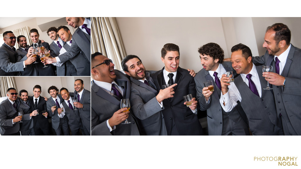 Groomsmen toast to new groom at One King West Hotel