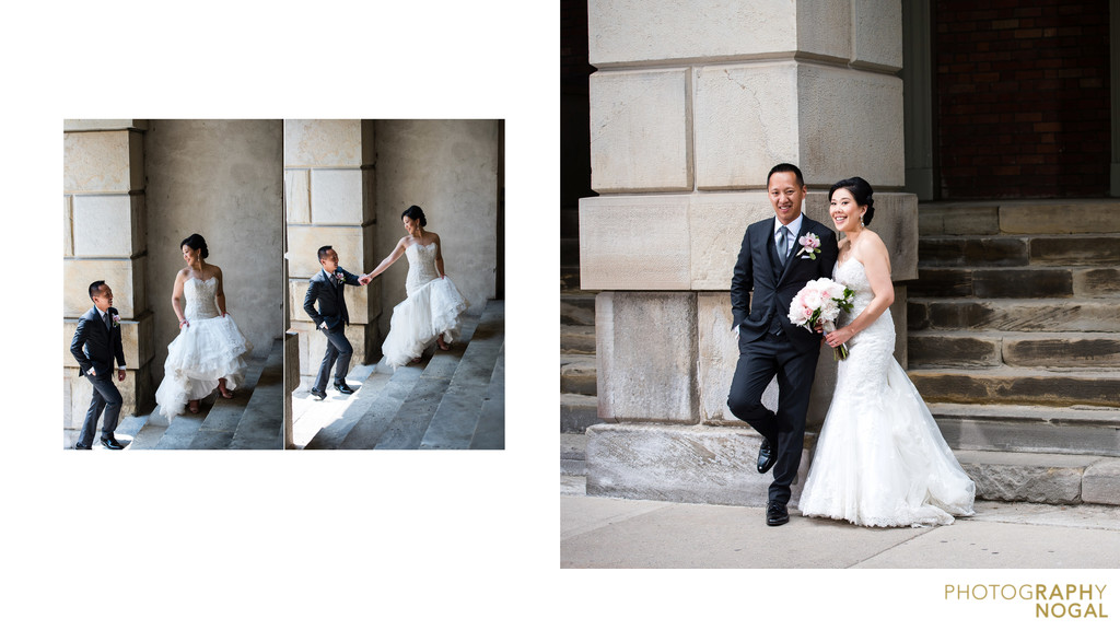 Groom follows bride up stairs of Osgood Hall Toronto