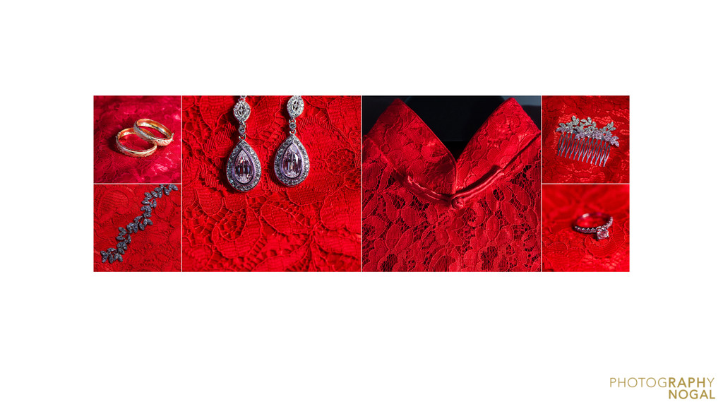 Detail spread of bride's accessories on red dress