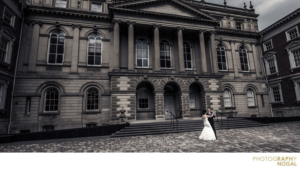 Toronto Wedding couple share moment at Osgood Hall