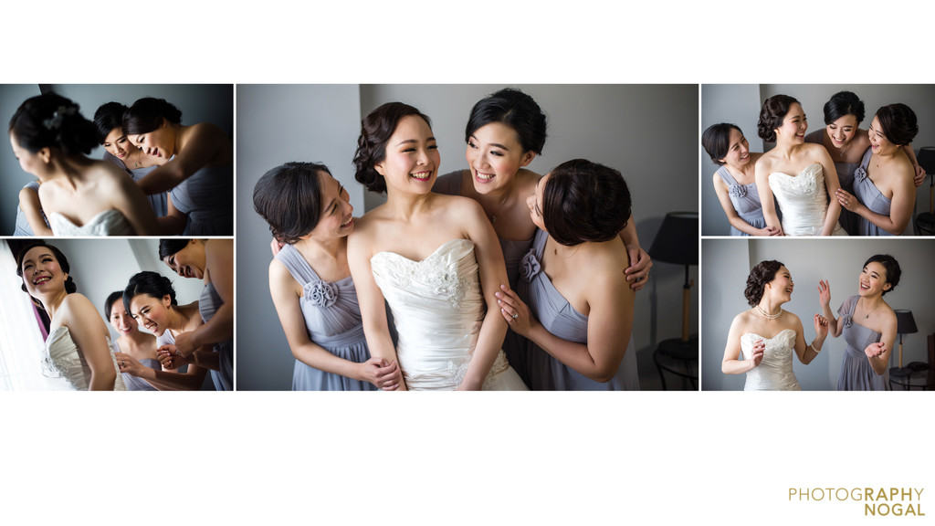 Bride and Her Bridesmaids Having Fun Getting Prepped