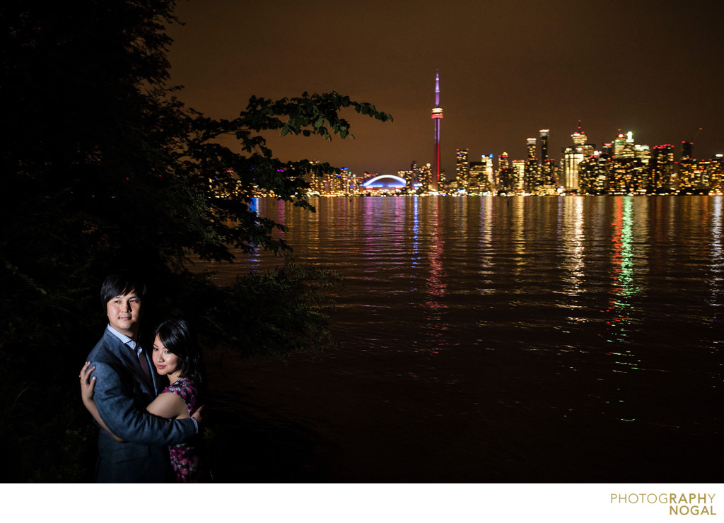 Hugging during Night Portraits on Toronto Island.