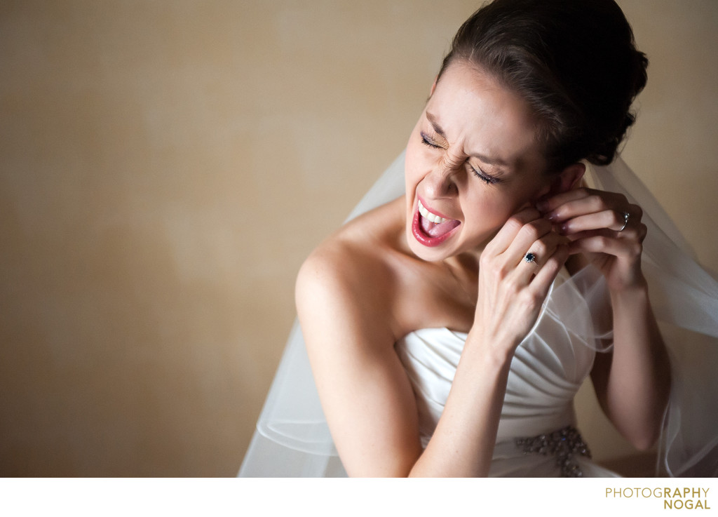 Bride Missed Ear Hole When Putting on Earning
