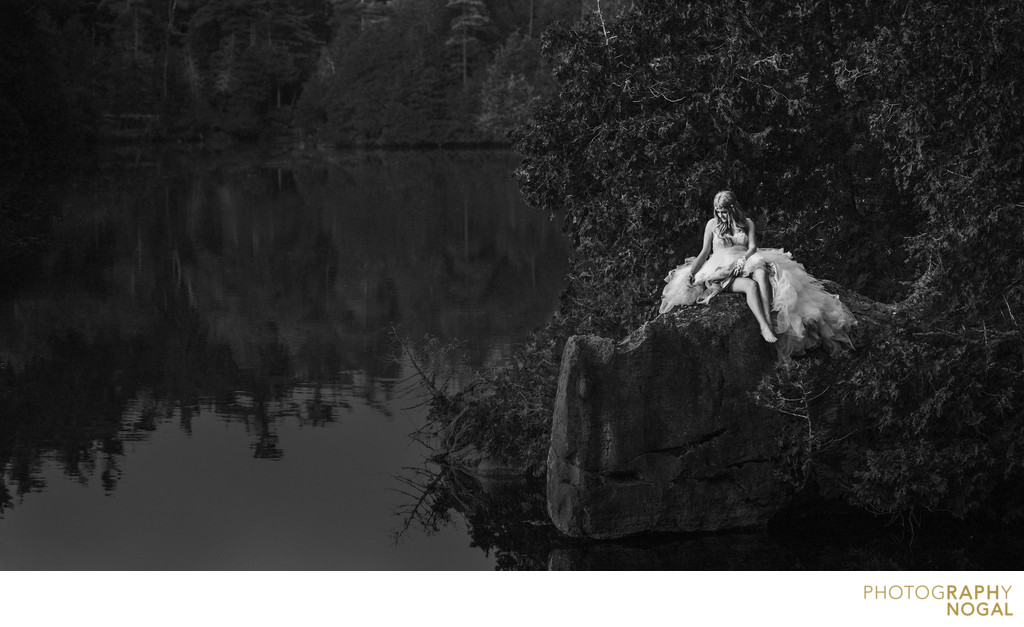 Bride on Rock at Rockwood Conservation Area