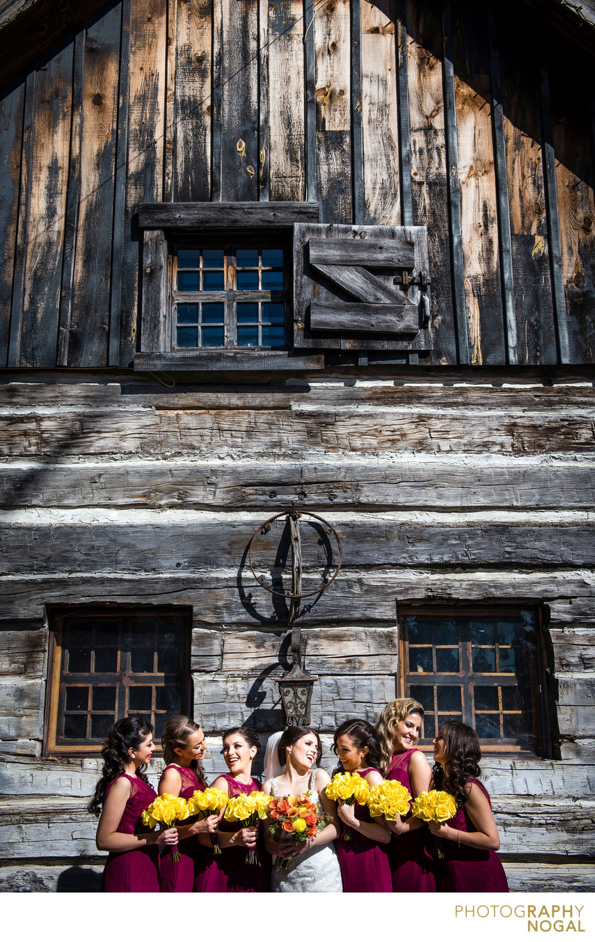 Bridesmaids Next To Old Wooden House in Kleinburg