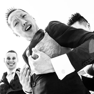 Groom with Bra During Wedding Games
